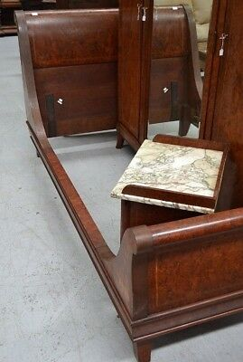 Early 20th century Burr walnut Queen or King Sleigh bed- Gorgeous craftmanship.