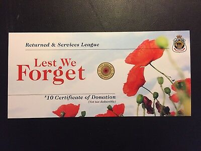 "5x 2012 RSL Certificate Card For $2 Red Poppy ANZAC remembrance Coin ""Card Only"""