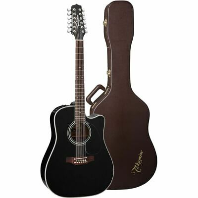 New Takamine EF381SC 12-String Acoustic Electric Guitar w/ Hardshell Case, Black