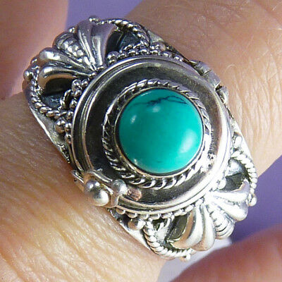 Poison/Pill Box Size US 8.25 SILVERSARI Ring Solid 925 Stg Silver + TURQUOISE