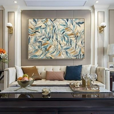 VV239 Hand-painted Abstract oil painting Modern Home Decoration art Leaves 36""