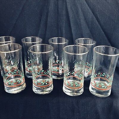 8 Vintage Arby's Libbey Water Drinking Glasses Holly Berry Gold Christmas Glass