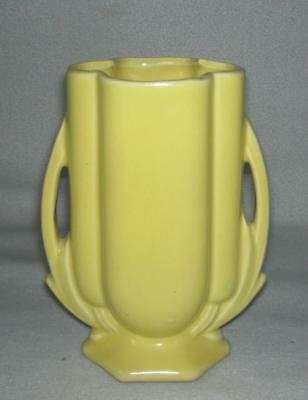 Vintage McCoy Pottery double handle Cattail Vase 1940's Yellow Glaze