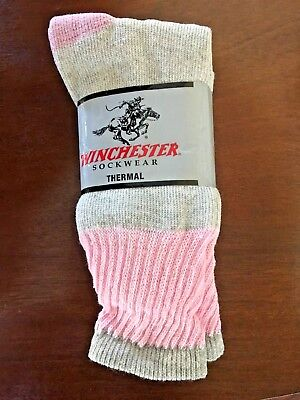 Winchester Womens Thermal Socks Hunting Outdoor Gray & Pink Size 9-11 3 PACK USA