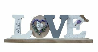 Wooden Sign French Country Vintage Inspired Lavender LOVE Table Top Plaque New