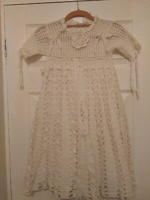 Vintage/Hand Knit/Crochet/Christening Gown. Cream