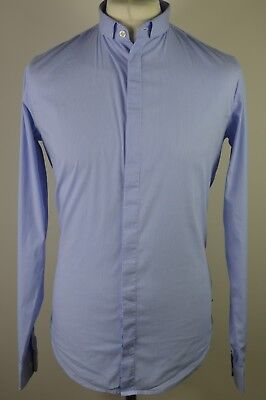 Men's AJ Armani Jeans blue long sleeved extra slim fit shirt large