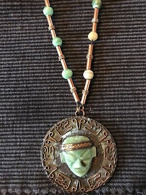 Vintage Semi-Precious Carved Mexican Jade Mayan Mask Necklace