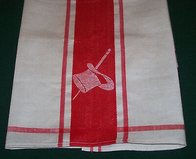 """SPECTACULAR VINTAGE LINEN TOWEL, RED """"TOP HAT & BATON"""" THEME, c1940 NEVER USED"""