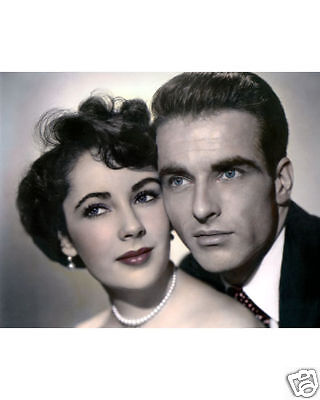 ELIZABETH TAYLOR MONTGOMERY CLIFT A PLACE IN THE SUN 1951 8x10 HAND TINTED PHOTO
