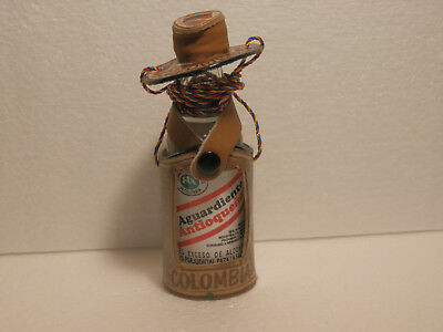 Leather Covered Minature Aguardiente Bottle With Leather Hat, Colombian Flag