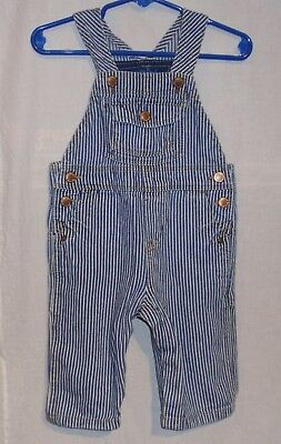OshKosh Bgosh Railroad/Engineer Striped Bib Overalls Blue/White Boys Sz 9 Month