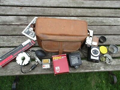 Vintage Camera Accessories In Leather Carry Bag