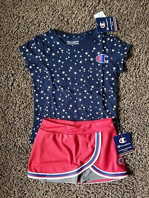 Girls Champion Skort Set Size 5 with Navy Blue Stars Champion Tee