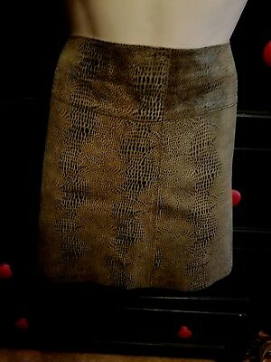 Bebe Suede Leather Mini Skirt Real Leather Faux Snake Skin 8