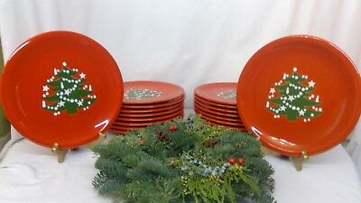 "Waechtersbach Christmas Tree Red 10"" Dinner Plates"