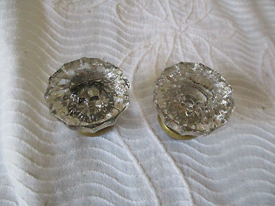 2 ~ Vintage Antique  Crystal 12 Point Glass  Door Knobs