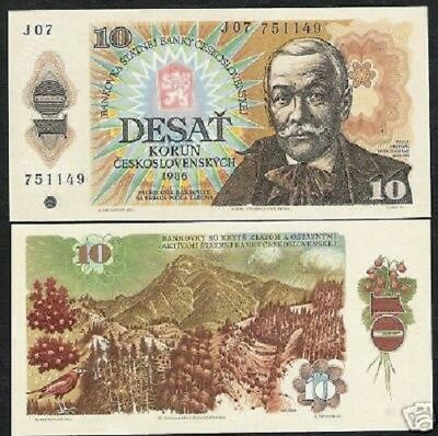 Czechoslovakia 10 Korun P94 1986 Bird Mountain Colorful Unc Euro Note