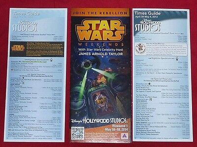 Disney Star Wars Weekends 2014 Guidemap Guide Map & 2 Times Guides (T)