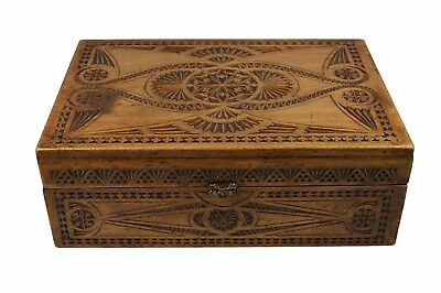 Vintage Frisian Chip Carved Document Chest or Box, Dutch.
