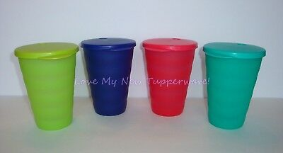 Tupperware Impressions 11oz Tumblers and Straw Seals Set of 4 Multi Colors New