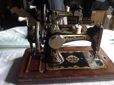 Beautiful Edwardian Sewing Machine  Frister & Rossman In Its Case & Key.