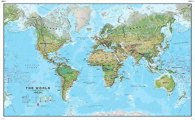 206610 Extra World map with All city Names Decor Wall PRINT AU
