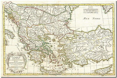 212908 VINTAGE JANVIER Map of Greece Turkey 1770 Decor Wall ...