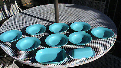 "TexasWare Melmac Melamine TURQUOISE  Butter Dish/ Bowls and 9"" Serving Dish"