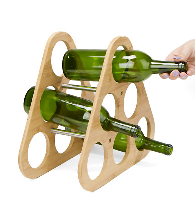 Countertop Wine Rack Bamboo & Stainless Steel 6 Bottle Holder Eco Friendly Decor