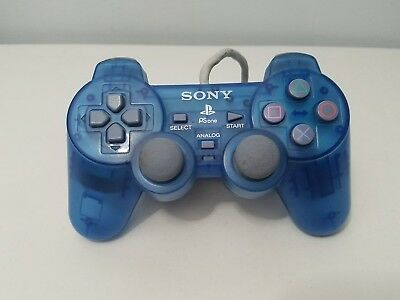 Original Official Sony Playstation One Controller (SCPH-110) Blue DualShock OEM