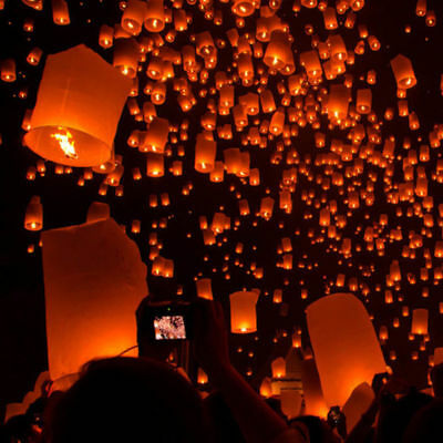 White Paper Candle Lanterns 20/50Pcs Chinese Sky Fly Lamp for Wish Party Wedding