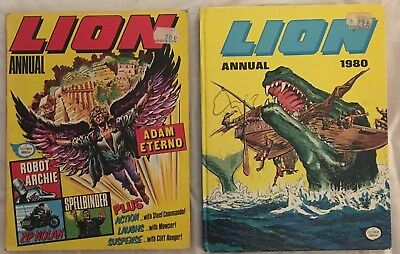 2 Fleetway Lion Annuals: 1977 (softcover) and 1980 (hardcover)