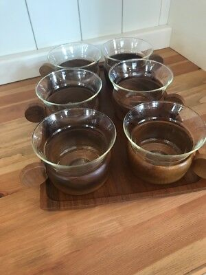 Mid-Century Set of 6 with Tray Schott Gen Mainz Jena Glass Coffee Cups
