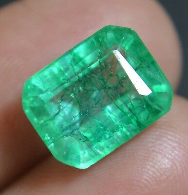 6.20 Ct Super  Natural Green Emerald Cut Colombian Transparent Loose Gemstone