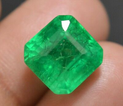 8.35Ct-Attractive-Natural-Green-Colombian Emerald Cut Transparent Loose Gemstone