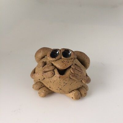 Little Guys Bashful Frog Cindy Pacileo Pottery Handmade Mid 90s Collectible