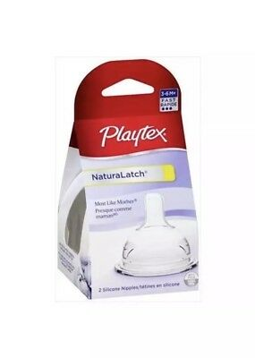 Playtex NaturaLatch Nipple, 2 Pack, 3-6 Months, Fast Flow FREE SHIPPING