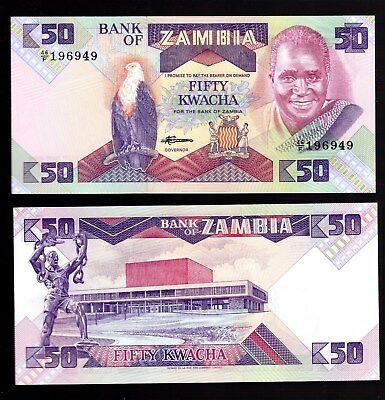 Bank Note From Zambia In Africa, 1 Note Of 50 Kwacha Nd (1986-88), P-28 Unc