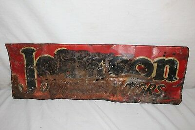 "Rare Vintage 1930's Johnson Outboard Boat Motors Gas Oil 23"" Embossed Metal Sign"