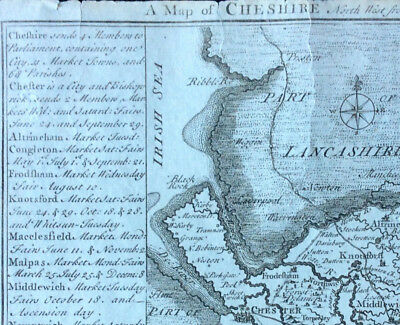 Map of CHESHIRE c1742, Badeslade & Toms, Original copperplate miniature map