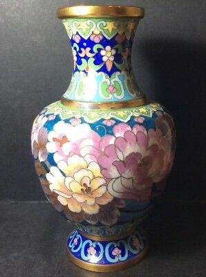 Vintage Oriental Cloisonne Vase Decorated With Flowers 18cm/7inches High