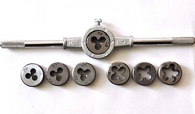 8pcs Metric Dies M3-M12 and Die Holder Thread Cutting and Cleaning
