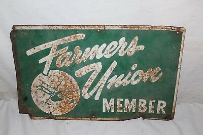 "Vintage 1930's Farmer Union Member Farm Feed Seed Gas Oil 16"" Metal Sign"