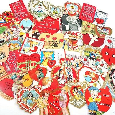 Vintage Antique Valentines Day Cards Lot of 39 Diecut Lace Heart 1920s to 1930s