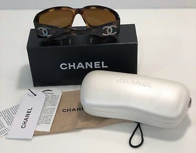1799a90385c CHANEL SUNGLASSES 5076 H Brown Frame Lenses Mother Of Pearl CC Logo ...