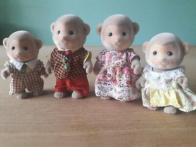 Sylvanian Families Darwin Monkey Family of 4 Excellent Condition