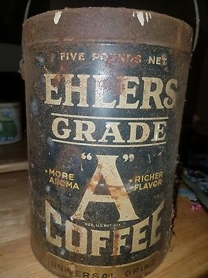Vintage Ehlers Grade A Coffee With Original Lid  Advertising Collectible   M-508