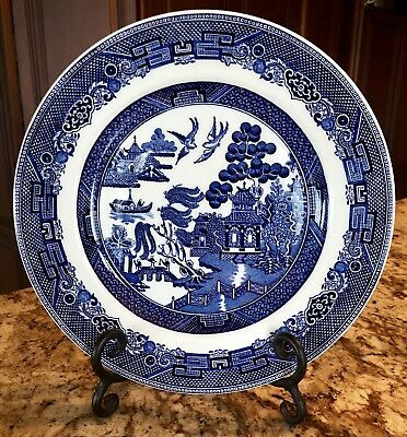 """Johnson Brothers Willow Blue Made In England 10 1/4"""" Dinner Plate IMPECCABLE"""