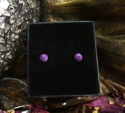 Top quality natural Violet Sugilite 6mm cabochon sterling silver stud earring 🔮